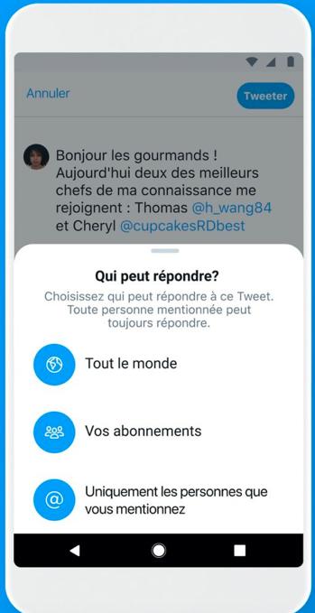 Mise à jour Twitter  Option pour choisir qui peut répondre aux tweets